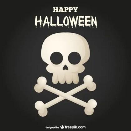 Happy Halloween Skull and Bones Background Free Vector