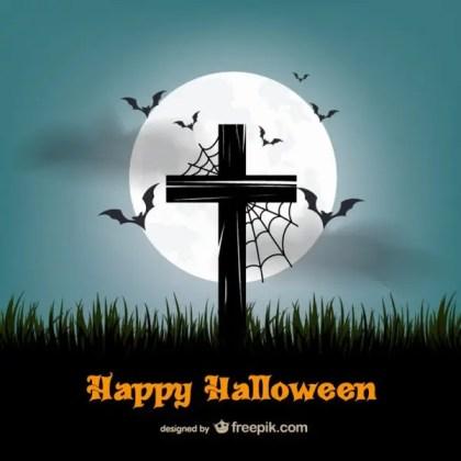 Happy Halloween with Cross Free Vector