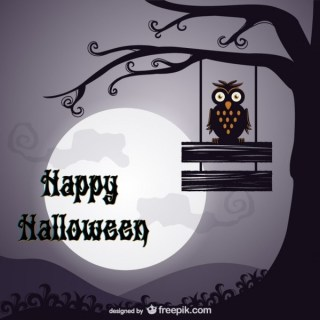 Happy Halloween with Owl Free Vector
