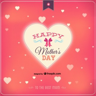 Happy Mother's Day Heart Card Free Vector