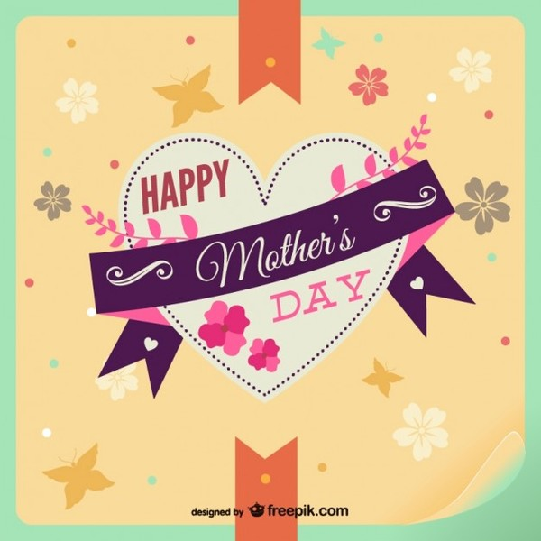 Happy Mother's Day Heart Floral Card Free Vector