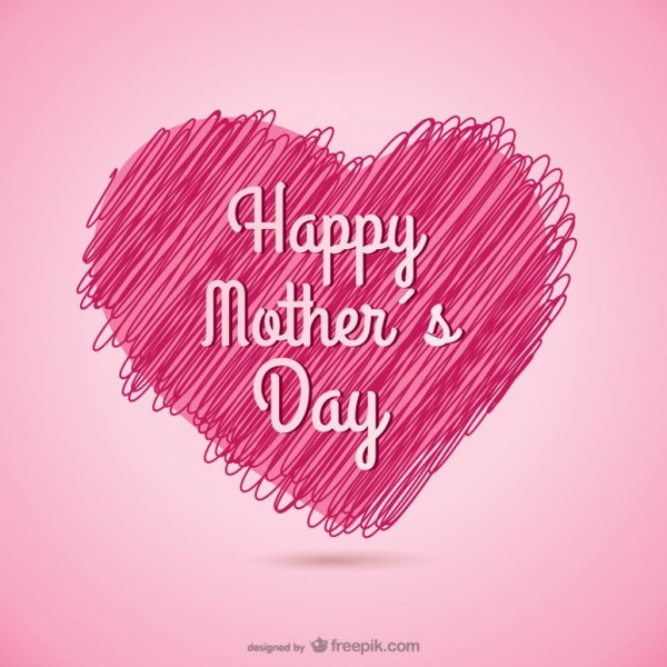 Happy Mother's Day Sketchy Heart Card Free Vector