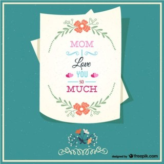 Happy Mother's Letter Card Free Vector