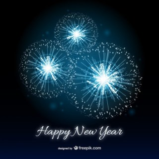 Happy New Year Card with Fireworks Free Vector