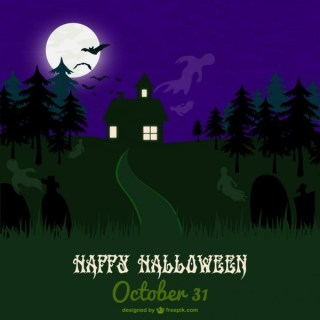 Haunted Forest Halloween Card Free Vector