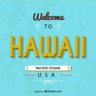 Hawaii Retro Card Free Vector