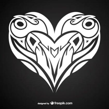 Heart Tattoo Design Free Vector