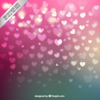 Hearts Background in Bokeh Style Free Vector