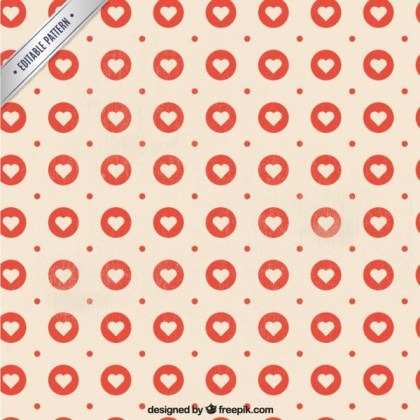 Hearts Pattern in Stamp Style Free Vector