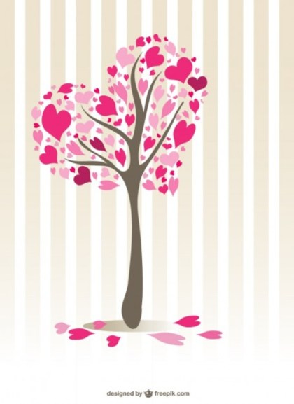 Hearts Tree Design Free Vector