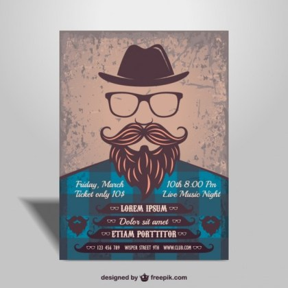 Hipster Music Poster Design Free Vector
