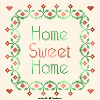 Home Sweet Home Cross-Stitch Free Vector
