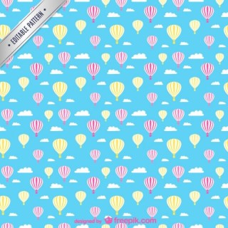 Hot Air Balloons Seamless Pattern Free Vector