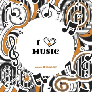 I Love Music Background Free Vector
