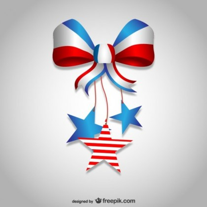 Independence Day Bow Ribbon Design Free Vector