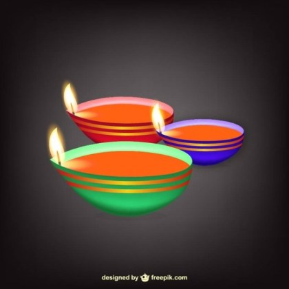 Indian Lamp with Flames Free Vector