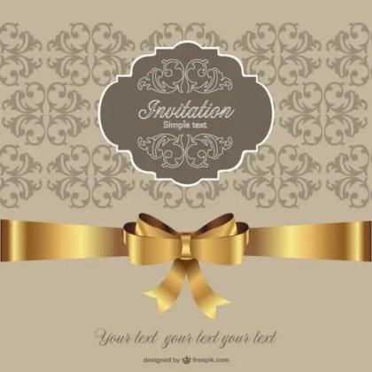 Invitation Golden Ribbon Retro Style Free Vector