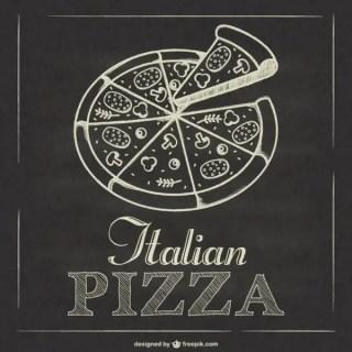 Italian Pizza Blackboard Free Vector
