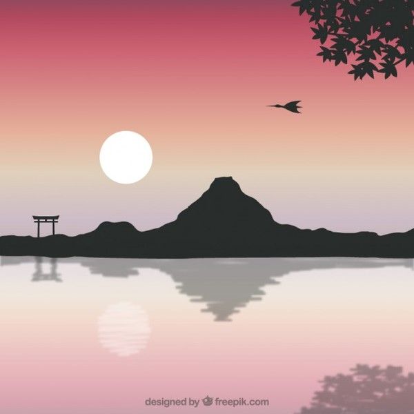 Japanese Landscape with Mount Fuji Free Vector
