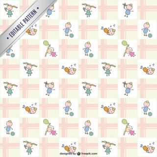 Kids Doodle Characters Pattern Free Vector