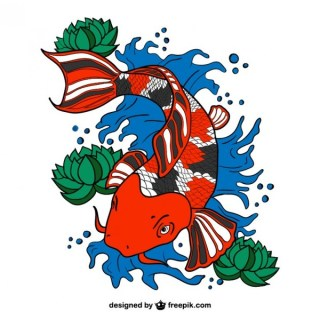 Koi Fish Art Free Vector