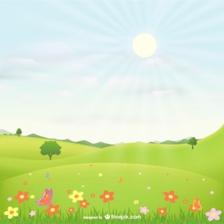 Landscape with Flowers Free Vector