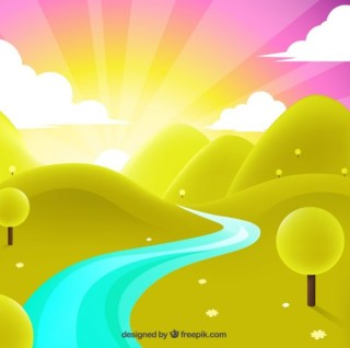 Landscape with Sunrise Free Vector