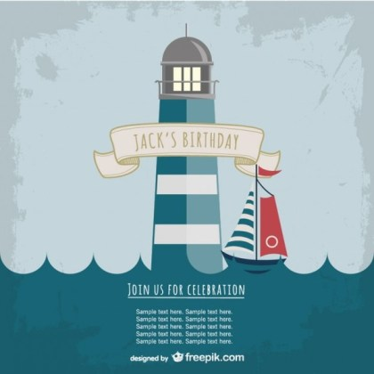 Lighthouse Party Invitation Template Free Vector