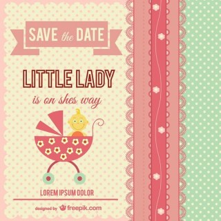 Little Lady Baby Shower Card Free Vector