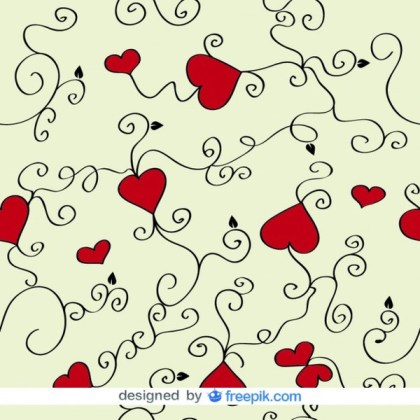 Love Hearts and Swirls Background Free Vector