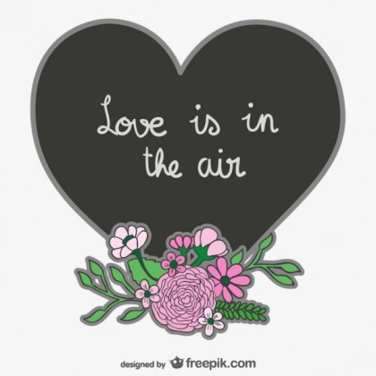 Love is in The Air Heart Design Free Vector