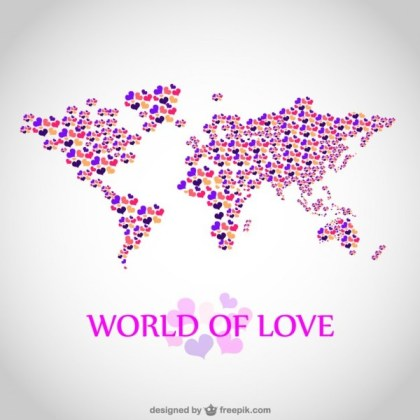 Love Map Illustration Free Vector