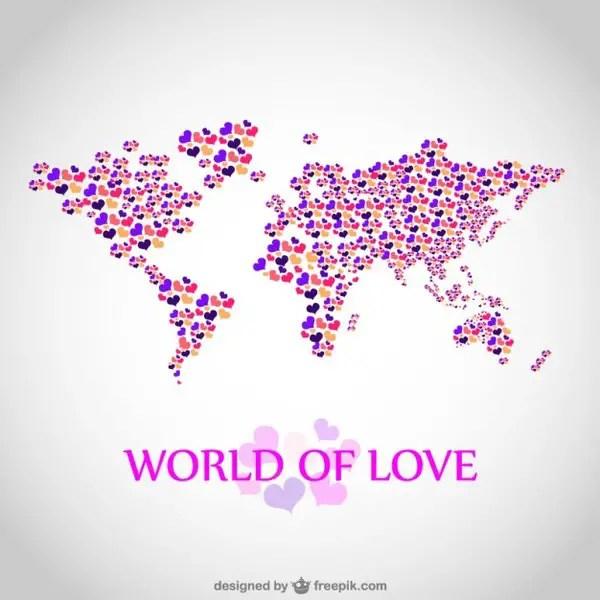 Love Map Illustration Free Vector