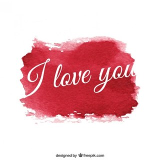 Love Message with Watercolor Texture Free Vector