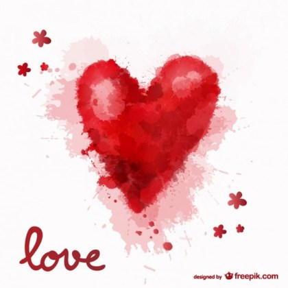 Love Watercolor Heart Background Free Vector