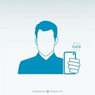 Man Taking Smartphone Selfie Free Vector