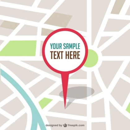 Map with Pin Illustration Free Vector