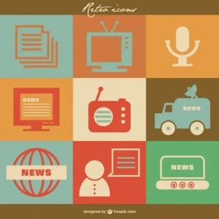 Mass Media Retro Icons Free Vector