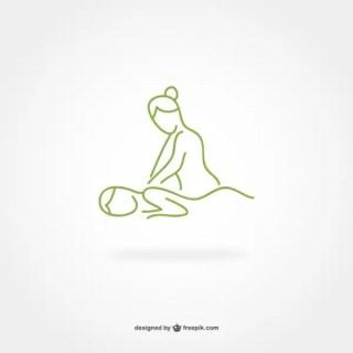 Massage Line Art Logo Free Vector
