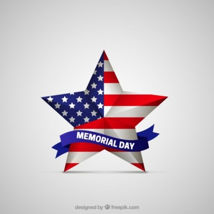 Memorial Day Star with American Flag Free Vector