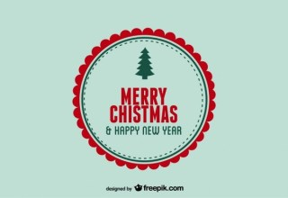 Merry Christmas & Happy New Year Stamp Postcard Free Vector