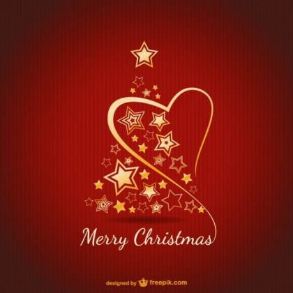 Merry Christmas Card with Golden Ornaments Free Vector