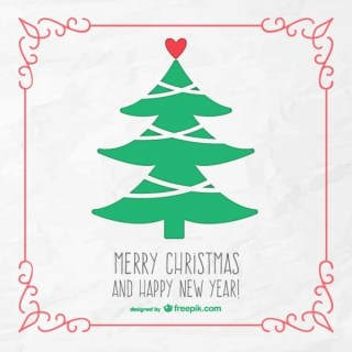 Merry Christmas Card with Vintage Tree Free Vector