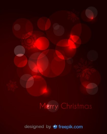 Merry Christmas Greeting Card with Red Snowfalkes and Red Balloons Free Vector