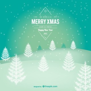 Merry Christmas Label with Snowy Landscape Free Vector
