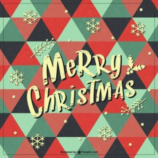 Merry Christmas Retro Background Free Vector