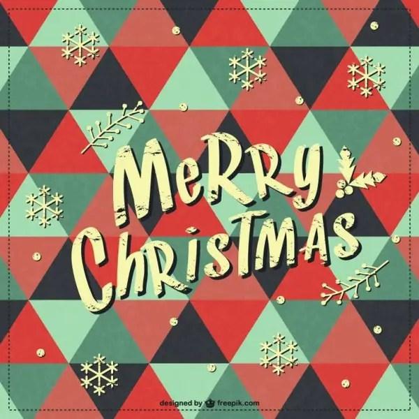 Merry Christmas Retro Background Free Vector