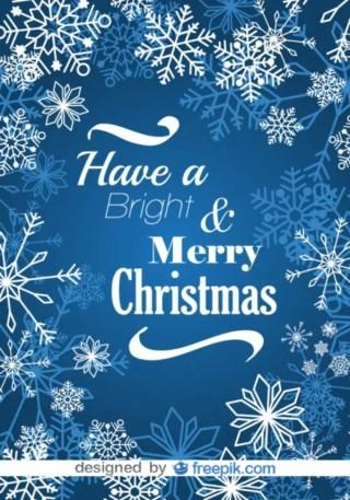 Merry Christmas Snowflakes Blue Postcard Free Vector