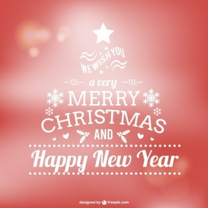 Merry Christmas Typography on Red Background Free Vector