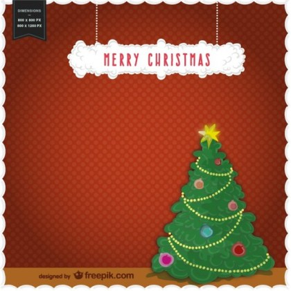 Merry Christmas with Christmas Tree Free Vector